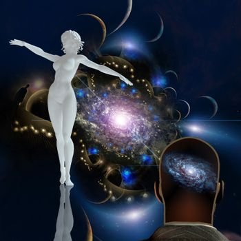 Graceful woman statue in space