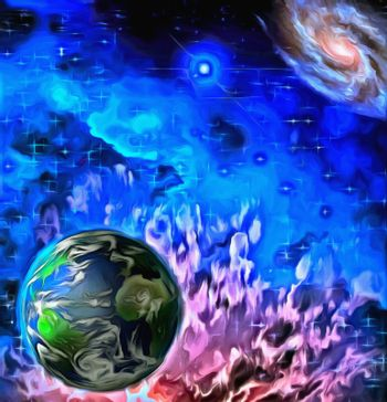 Surreal painting. Planet Earth in endless universe.