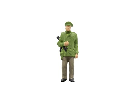 Policeman standing on white background with clipping path