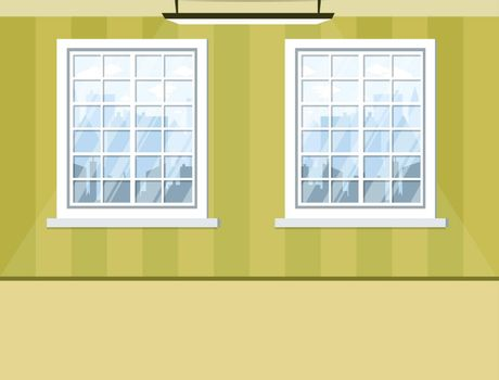 empty room with windows green wall and floor. Background for design with shadow from lamp. Pastel wallpaper Room interior. Vector illustration