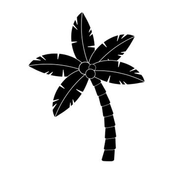 Palmtree silhouette isolated on white. Tropical, exotic palm tree illustration. Hawaii coco frond shape. Monochrome palm isolated. Single hawaiian jungle element for summertime graphic design element.