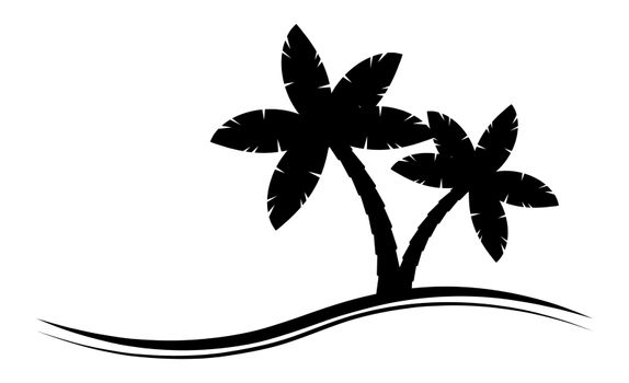 Palmtree silhouette graphic emblem isolated on white. Black-and-white palm tree pictogram with copy space. Illustration of tropical palm scenery for vacations at maldives, bahamas or hawaii.