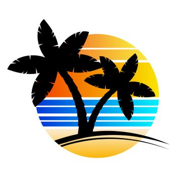 Palm tree sundown or sunrise paradise poster with stripes isolated on white. Enjoy hawaii trendy illustration. Minimalistic graphic palm for advertise flyer.  template for holidays resort.