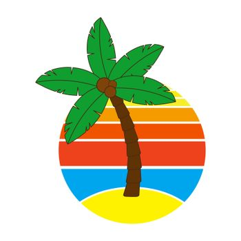 Palm tree and sunrise or sundown on hawaii at holidays. Circular graphic with paradise poster with stripes isolated on white. Illustration of tropical palmtree for advertise flier.