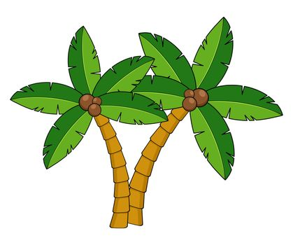 Palm trees cartoon illustration.Two curved coco palm isolated on white. Design element for summertime leaflet or advert. Exotic palmtree illustration. Paradise plants symbol clipart.