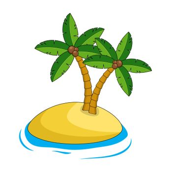 Desert island illustration isolated on white. Exotic paradise land. Cartoon caribbean edge with sand, ocean and tropical palm trees. Blank scenery for holidays journey. Empty drawing scene clipart.