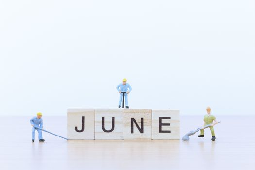 June words with Miniature people worker