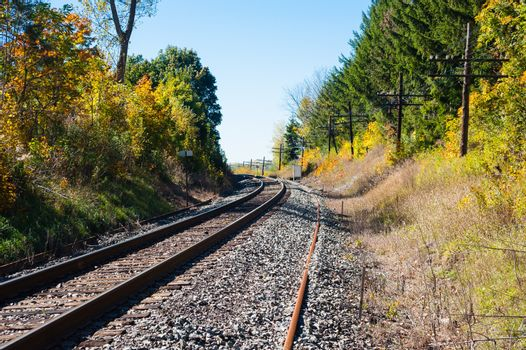 Train tracks on gravel base curving left through trees in autumn, with line of telegraph poles on right.
