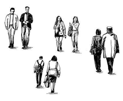Drawing of the people are walking