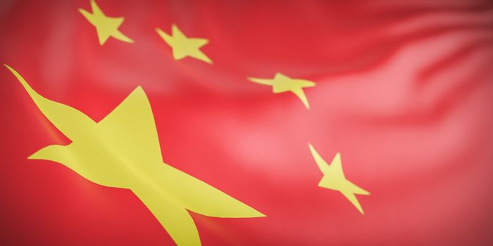 Beautiful China Flag Wave Close Up on banner background with copy space.,3d model and illustration.