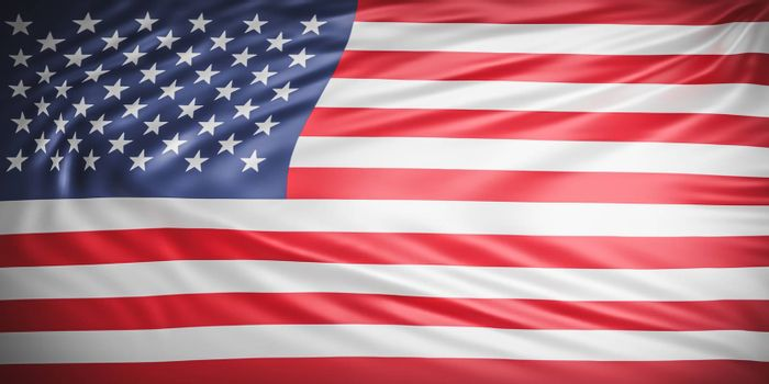 Beautiful American Flag Wave Close Up for Memorial Day or 4th of July on banner background with copy space.,3d model and illustration.