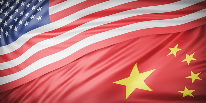 Beautiful American and china Flag Wave Close Up on banner background with copy space.,joining together concept.,3d model and illustration.
