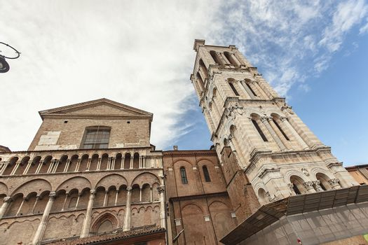 Detail of San Giorgio historical cathedral in Ferrara in Italy