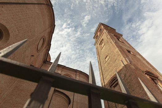 San Benedetto abate Church in Ferrara in Italy shot from below