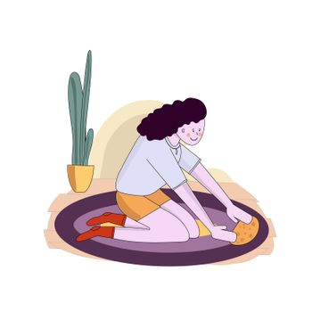 kid helping parents with home cleaning, little girl washing and cleaning carpet and floor. Vector illustration cartoon style