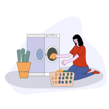 woman doing laundry putting dirty clothes on washing machine from basket. illustration cartoon style