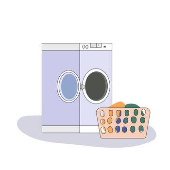 Broken washing machine with water around in flat style. Modern illustration