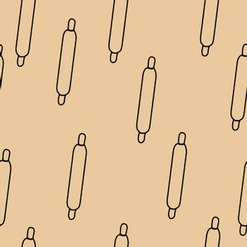 Rolling pin seamless pattern, hand drawn doodle sketch, sign and symbols black and white illustration.
