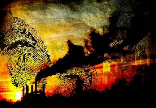 Smog and black fingerprint