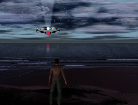 UFO hovers over ocean shore