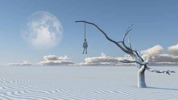 Hangs man  in desolate desert