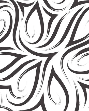 Vector seamless pattern of smooth corners and lines drawn with brush.Texture of black lines on white.Monochrome background.
