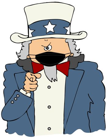 Cartoon Uncle Sam wearing a face mask