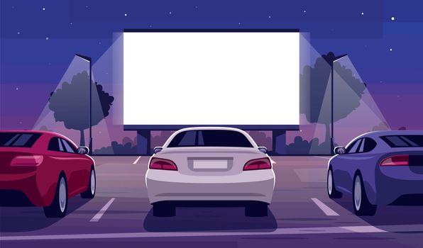 Drive in cinema semi flat vector illustration