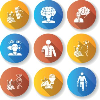 Patient with disability flat design long shadow glyph icons set
