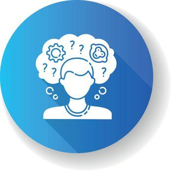 Intellectual disability blue flat design long shadow glyph icon