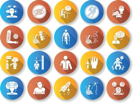 Disability types flat design long shadow glyph icons set
