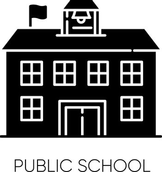 Public school black glyph icon