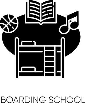 Boarding school black glyph icon