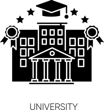 University black glyph icon. Higher education, student lifestyle silhouette symbol on white space. Academic institution. Prestigious state college campus with mortar board vector isolated illustration