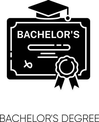 Bachelors degree black glyph icon. Successful university graduation document. Higher education silhouette symbol on white space. Student diploma, academic certificate vector isolated illustration