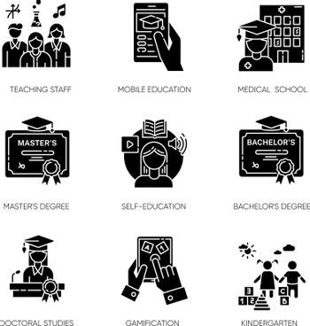 Modern education black glyph icons set on white space. E learning, professional teachers and higher education opportunities. Acquiring knowledge silhouette symbols. Vector isolated illustrations