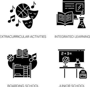 Primary education black glyph icons set on white space. Junior school with extracurricular activities and integrated learning. Private boarding school silhouette symbols. Vector isolated illustrations