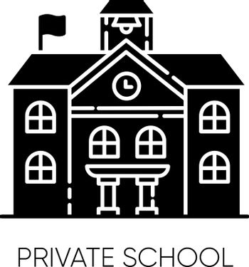 Private school black glyph icon. Prestigious educational establishment, independent academic institution. Exclusive education system silhouette symbol on white space. Vector isolated illustration
