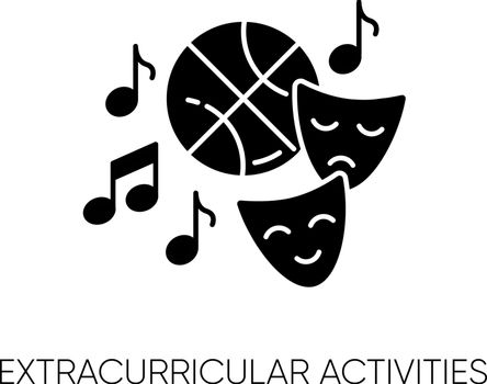 Extracurricular activities black glyph icon. Different academic clubs, highschool hobbies. Sport training, drama class, dancing and music silhouette symbol on white space. Vector isolated illustration