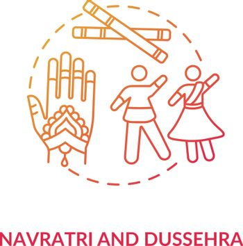Navratri and dussehra concept icon. Hindu festival idea thin line illustration. Traditional indian accessories and celebrating people vector isolated outline RGB color drawing