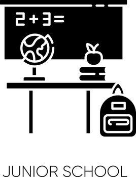 Junior school black glyph icon. Primary education establishment, studying basic sciences silhouette symbol on white space. Classroom equipment. Blackboard, desk and globe Vector isolated illustration