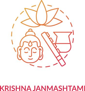 Krishna janmashtami concept icon. National indian festival, Krishna worship day idea thin line illustration. Religious holiday celebration. Vector isolated outline RGB color drawing