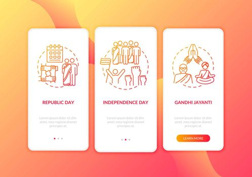 National Indian holidays onboarding mobile app page screen with concepts. Public holidays in India. Walkthrough 3 steps graphic instructions. UI vector template with RGB color illustrations
