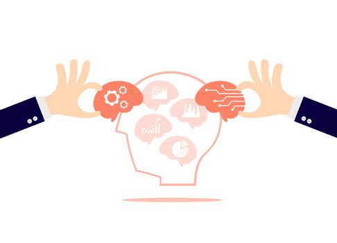 The hand holding the brain with the symbol of finance and investment isolated on white background.