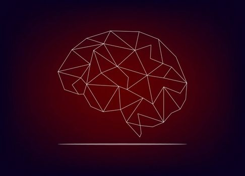 Brain graphic with line connection on gradients background. Modern vector graphic brain.