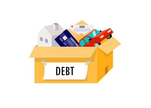 Liabilities arising from home, cars, credit cards are all in one box.