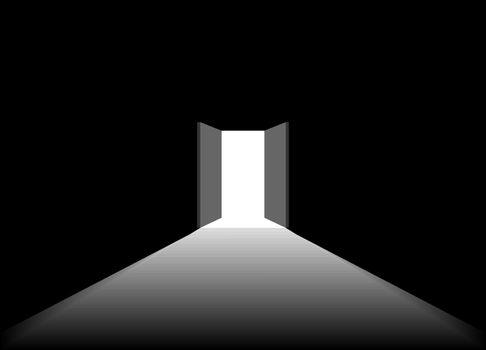 The dark room opens the door to receive the light. The light shines from the door.