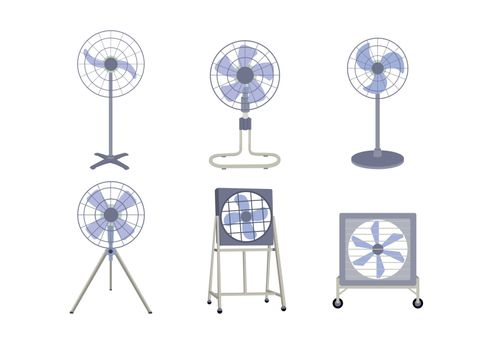Set of industrial fans isolated on white background.
