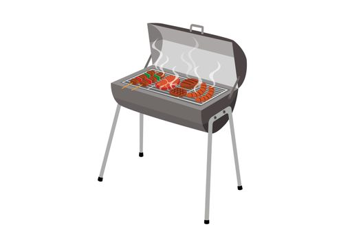 Charcoal grill stove for grilling food isolated on white background.