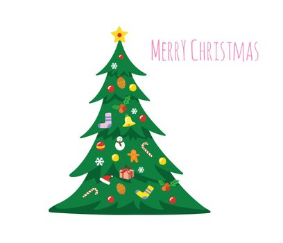 Christmas tree decorated with decorations isolated on white background. Merry Christmas with Christmas tree.